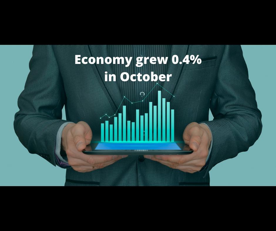 Economy grew 0.4% in October